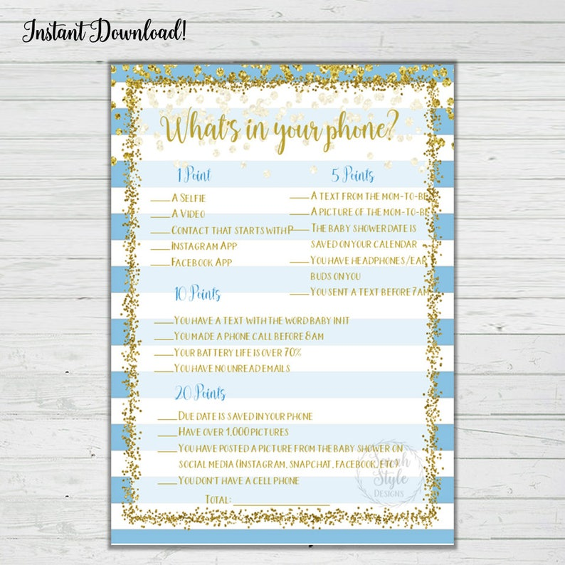 Blue and Gold Confetti What's In Your Phone Game Baby Shower Printable  Digital Download Instant Print Boy