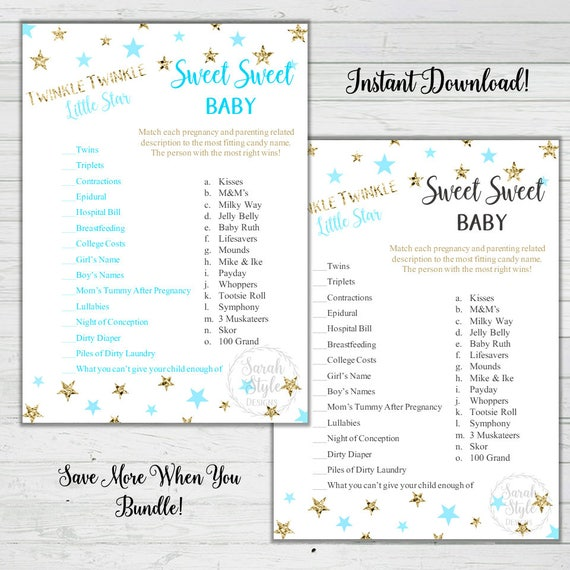 Twinkle Twinkle Little Star Candy Baby Shower Game Answer Key Etsy