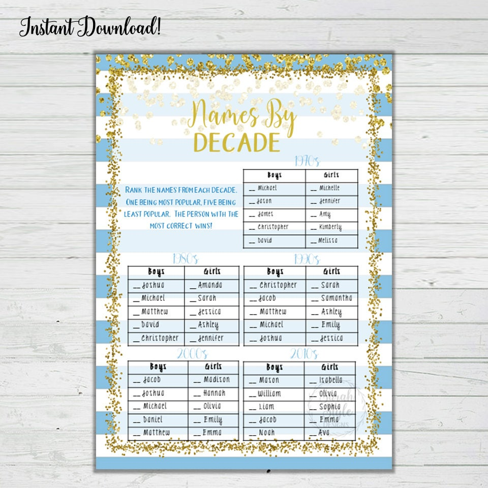 Blue and Gold Baby Shower Game - Names By Decade Answer Key Instant  Download Digital Printable Print Boy