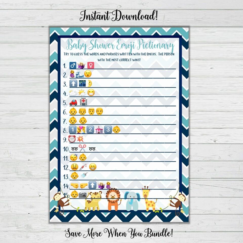 Emoji Pictionary Baby Shower Game Chevron Baby Animals ...