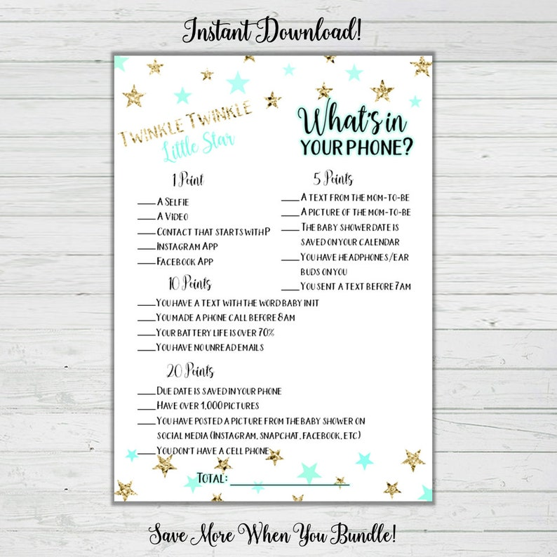 photo about What's in Your Phone Baby Shower Game Free Printable named Whats Upon Your Cellphone Boy or girl Shower Sport - Mint and Gold Superstars - Little one Shower Game titles - Prompt Down load -Electronic Printable Reward Activity Celebration Match