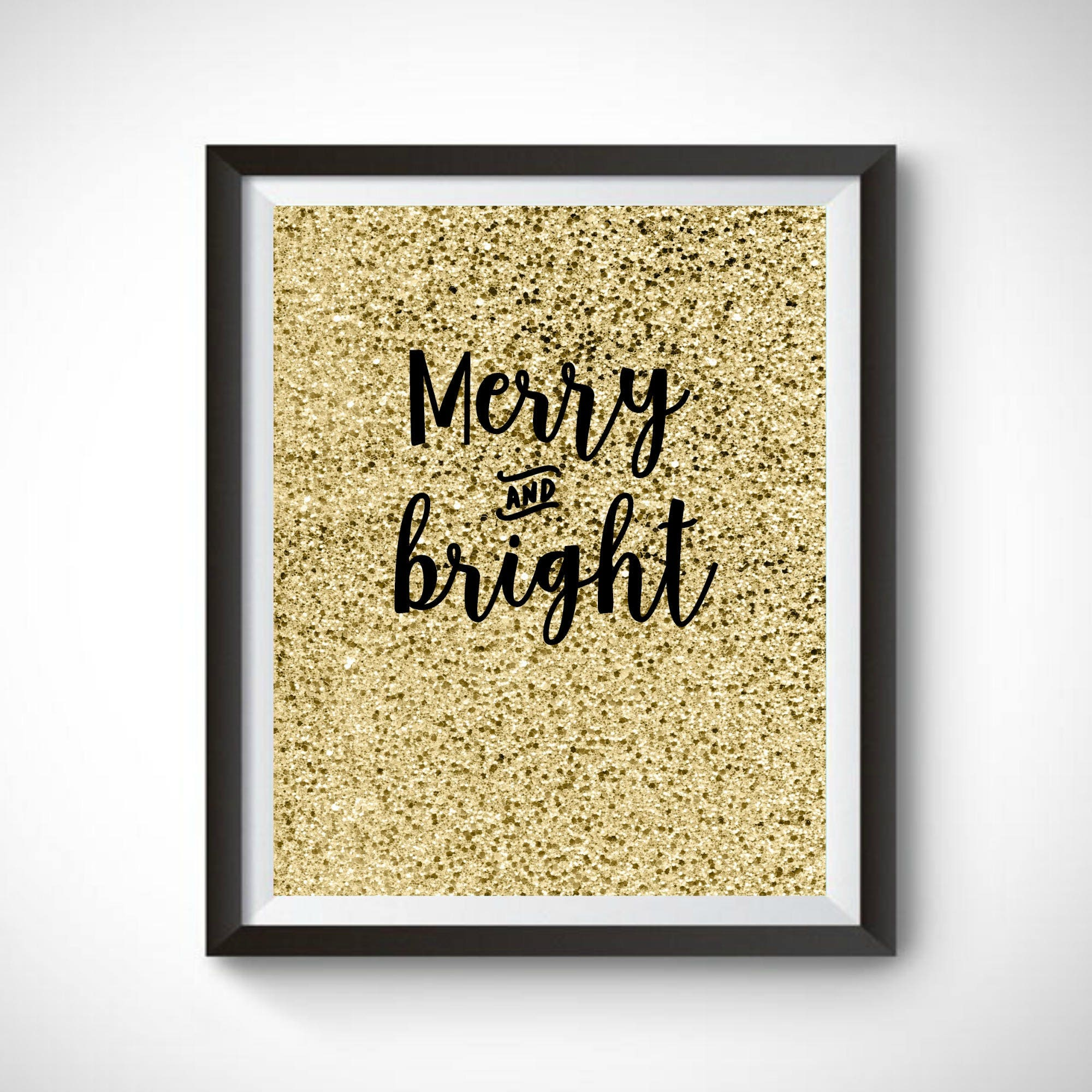 Christmas Printable Wall Art Merry & Bright Christmas Sign | Etsy