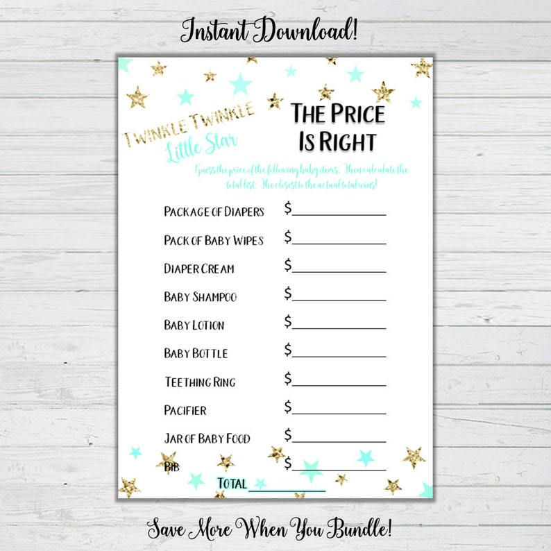 image about The Price is Right Baby Shower Game Free Printable referred to as The Rate Is Directly Youngster Shower Activity - Mint and Gold Celebrities - Child Shower Video games - Fast Down load -Electronic Printable Reward Activity Get together Activity