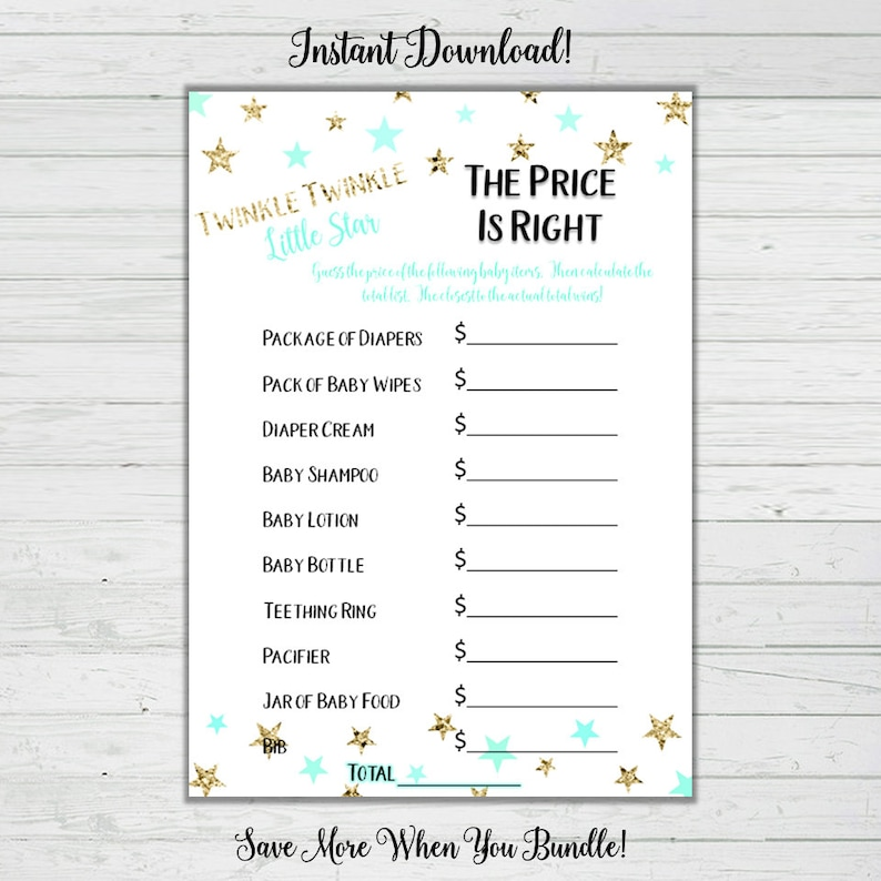 graphic regarding The Price is Right Baby Shower Game Free Printable referred to as The Rate Is Directly Kid Shower Recreation - Mint and Gold Superstars - Child Shower Online games - Fast Obtain -Electronic Printable Reward Sport Bash Video game