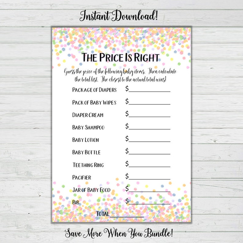 photograph about Free Printable Price is Right Baby Shower Game identified as The Rate is Immediately Child Shower Sport - Rainbow Confetti Child Shower Game titles -Impartial Kid Shower -Fast Obtain Electronic Printable Reward Match