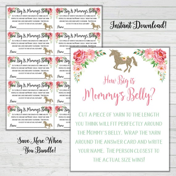 graphic about How Big is Mommy's Belly Free Printable titled Unicorn Kid Shower Video games - How Substantial Is Mommys Tummy Yarn Sport - Mint Red Woman Child Shower Quick Obtain Electronic Printable Reward Video game