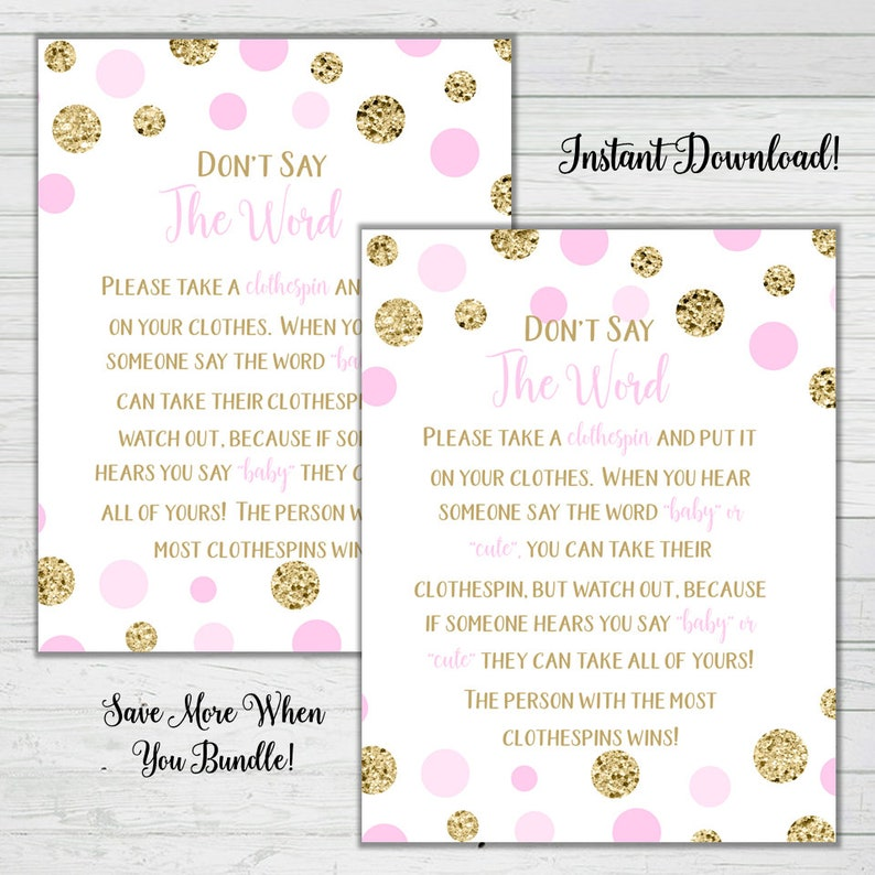 photo regarding Free Don't Say Baby Printable named Dont Say the Term Clothespin Video game - Crimson and Gold Youngster Shower Video games - Lady Little one Shower- Quick Down load Electronic Printable Reward Video game
