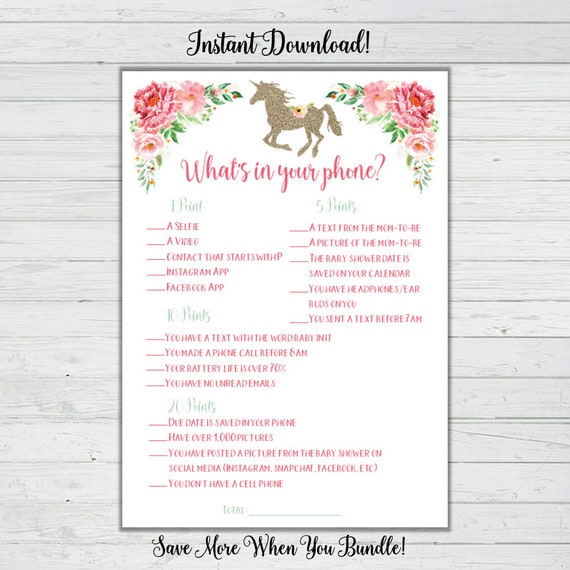 image regarding What's in Your Phone Baby Shower Game Free Printable referred to as Unicorn Little one Shower Game titles - Whats Inside of Your Mobile phone Child Shower Recreation - Mint Crimson Woman Boy or girl Shower Immediate Down load Electronic Printable Reward Activity