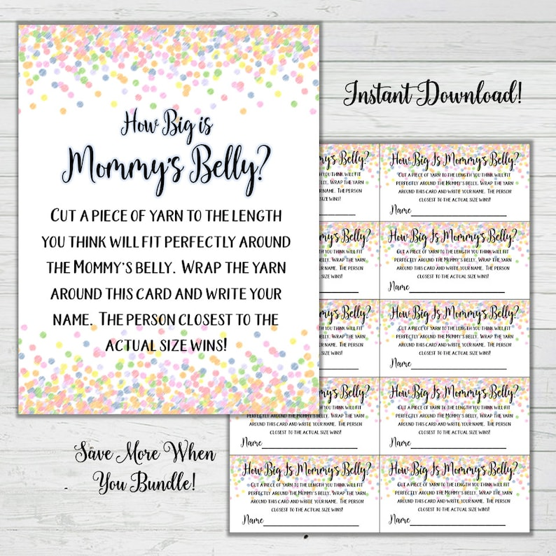 photograph about How Big is Mommy's Belly Free Printable titled How Large Is Mommys Stomach Yarn Sport - Rainbow Confetti Child Shower Game titles -Female Little one Shower Prompt Obtain Electronic Printable Reward Sport