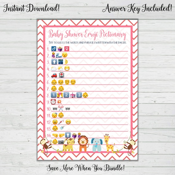 Emoji Pictionary Baby Shower Game Pink Baby Animal Baby Etsy