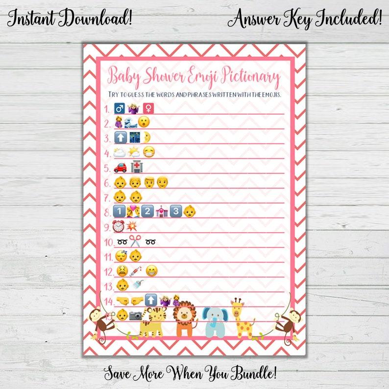 Emoji Pictionary Baby Shower Game Pink Baby Animal Baby Etsy