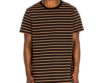 3a2bf4ef Narrow Stripes Boxy Tee - Black/Orange