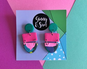 Pink and Green Dahlia Earrings    Polymer Clay Earrings