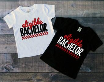 Children's Valentine's Day Tee Shirt, Eligible Bachelor, Boys T-Shirt, Black or White Tee, Infants, Toddler, Youth, Boys, Valentine Shirt