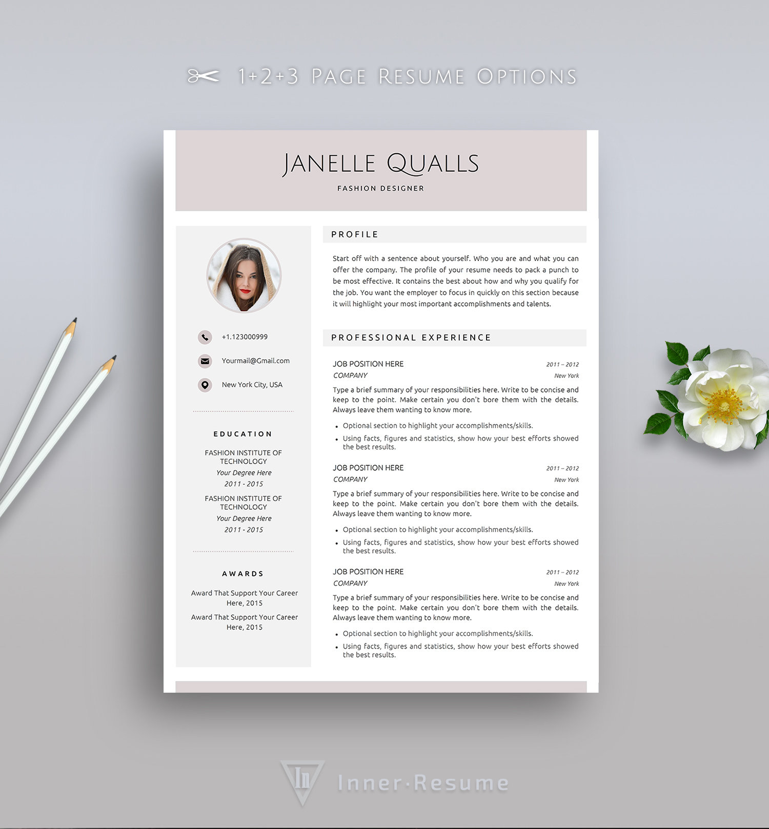 creative resume template for word with photo elegant