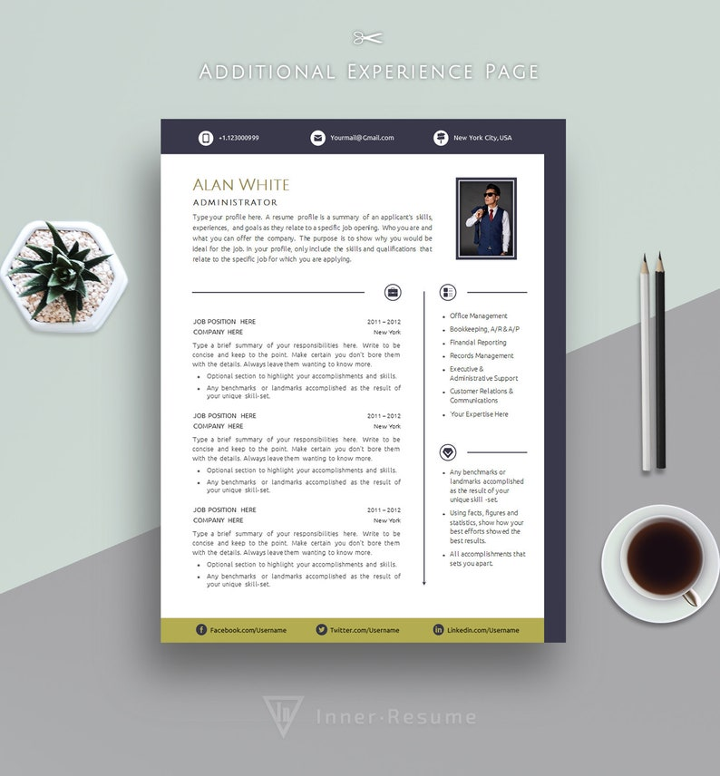 Creative Resume Template, Cover Letter Template for MS Word | Professional,  Modern & Business CV | A4 + US Letter | Instant Download