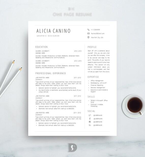 clean resume template simple resume template best minimal etsy