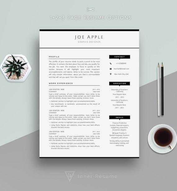 minimal resume template minimalist cv template for microsoft etsy