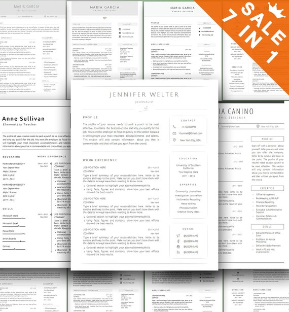 Simple Resume Template Bundle Modern Word Cv Template Creative Resume Templates Professional Minimal Job Resume Cool Functional Resume