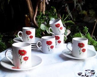 Porcelain espresso coffee service. French