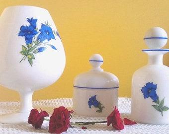 Dressing table set from 60's Vintage Arcopal. Blue floral decor.