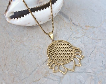 Flower of Life brass pendant. Flower of Life Lotus pendant necklace. Sacred Geometry pendant necklace.