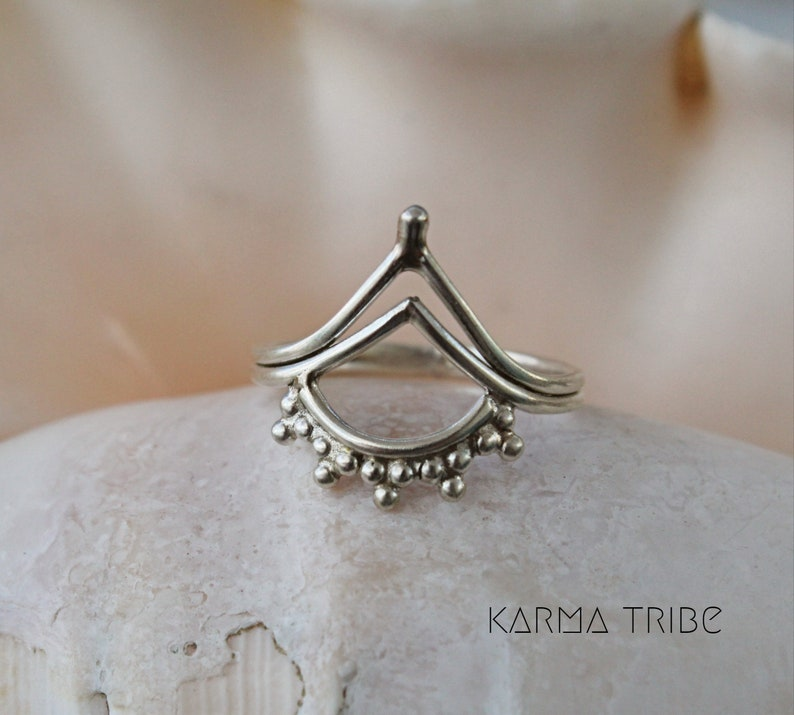 Sterling silver boho chevron ring geometric bohemian ring midi ring. sterling silver triangle ring stackable silver ring