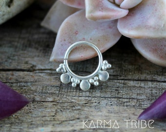 Silver septum ring. Tribal septum jewelry. Indian septum ring. Septum piercing.  Boho nose jewelry. Helix silver ring.