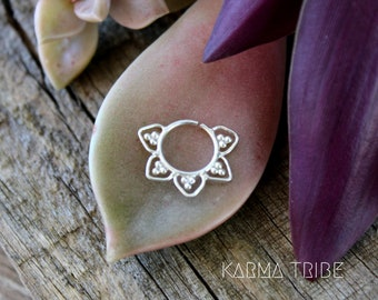 Sterling silver septum ring. Tribal septum jewelry. Indian septum ring. Septum piercing.  Boho nose jewelry. Helix silver ring.