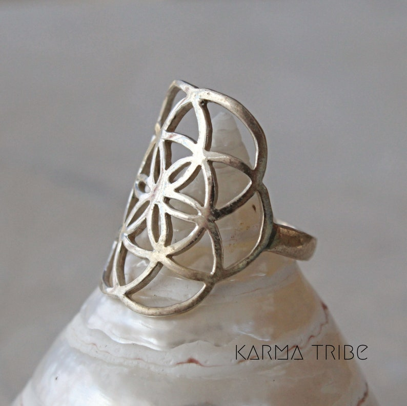 Sterling silver flower of life ring sterling silver yoga ring sacred geometry silver ring. seed of life silver ring
