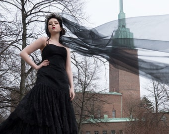 Black strapless lace wedding dress