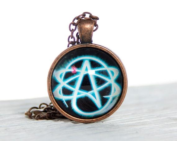 Atheist Symbol Atom pendant Atheist jewelry Science jewelry Chemistry jewelry Agnostic jewelry Atheist necklace Humanist jewelry Atom gift