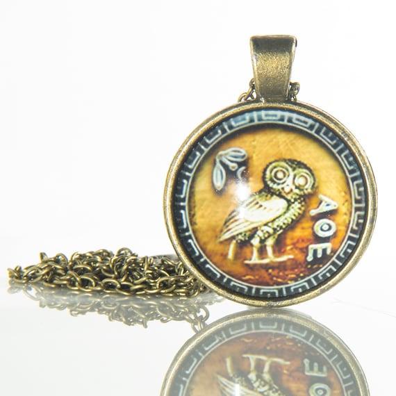 Wisdom Pendant Wisdom Owl Symbol Of Wisdom Athena Owl Athena Pendant Wisdom Necklace Greek Owl Coin Owl Of Athena Owl Of Minerva Goddess Of