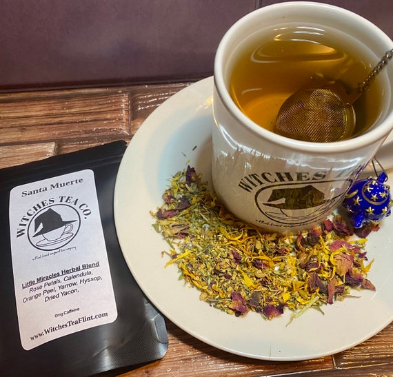 Santa Muerte Loose Leaf Herbal Tea Blend - Organic Fair Trade - Decaffeinated - Witches Tea - Our Lady of Little Miracles