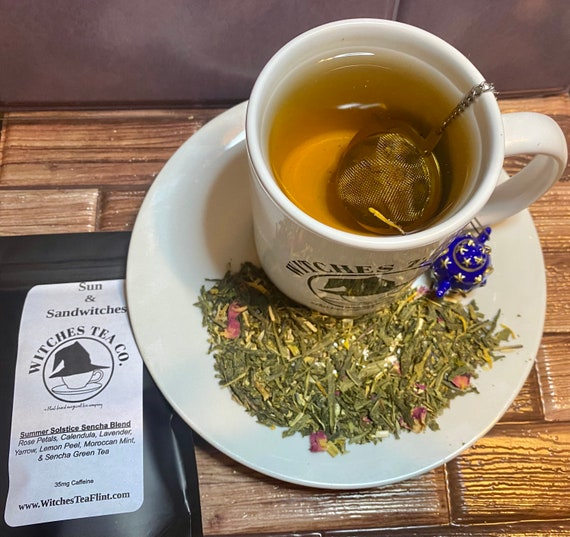 Sun & Sandwitches Summer Solstice -  Litha - Loose Leaf Sencha Green Tea Blend ~ Decaffeinated - Organic Fair Trade - Witches Tea