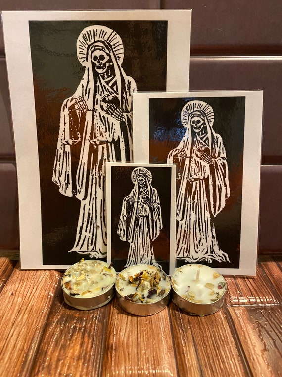 Pagan Prayer Card ~ Santa Muerte   *available in English or Spanish* with Blockbuster Tea Light Candle