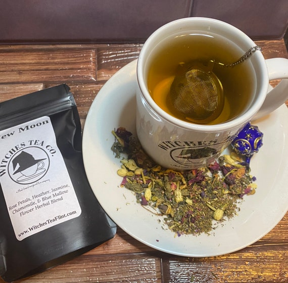 New Moon Herbal Tea Blend ~ Loose Leaf Tisane ~ Decaffeinated - Organic Fair Trade - Witches Tea - Manifestation Blend