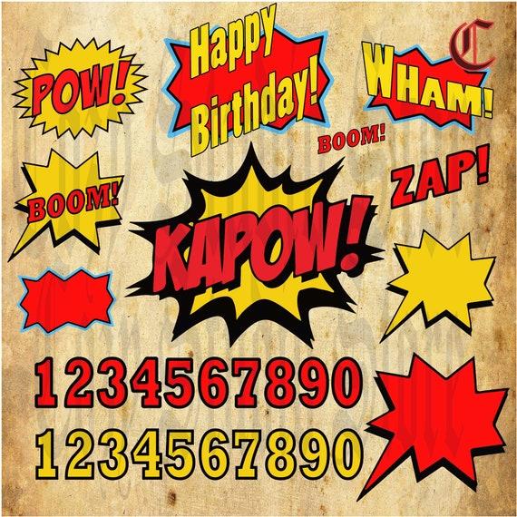 Supereroi Pop Art Testo E Clipart Di Bolle Kapow Svg Etsy