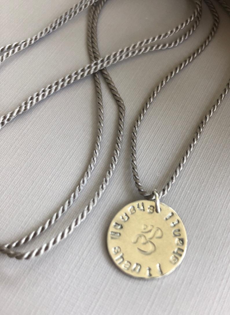 OM Shanti Shanti Shanti Charm Necklace Silk Cord image 0