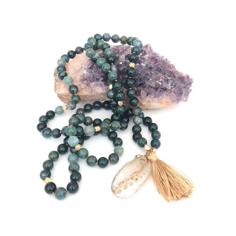 Moss Agate Shell Mala 108 Beads 8mm Beads Yoga Jewelry image 0