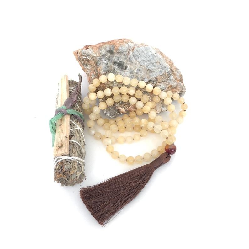 Yellow Calcite Mala Beads Autumn Mala 108 Beads Tassel image 0