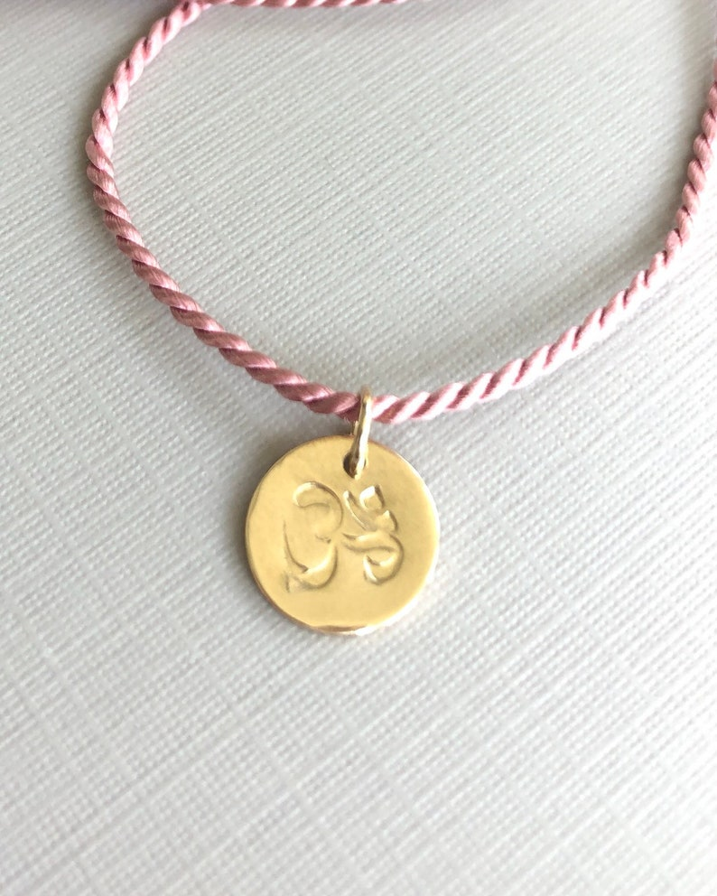 OM Charm Necklace Silk Cord Adjustable Necklace Hand image 0