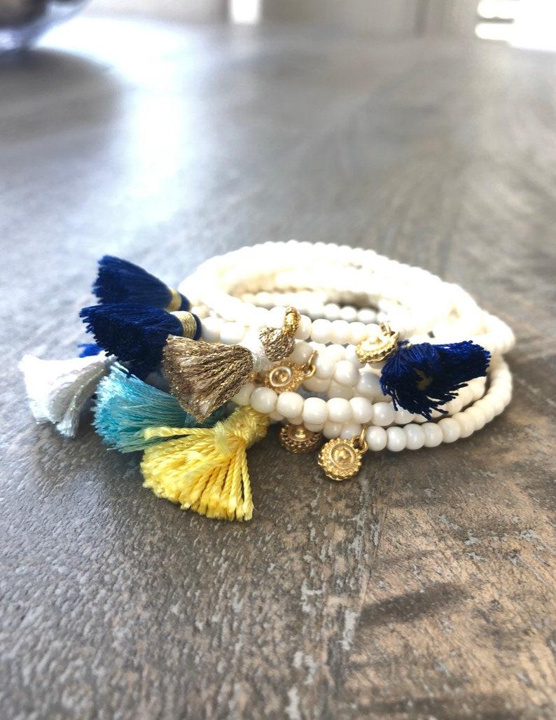 Stacking Bracelets Tiny Natural Bone Beads Tassel Bracelet image 0