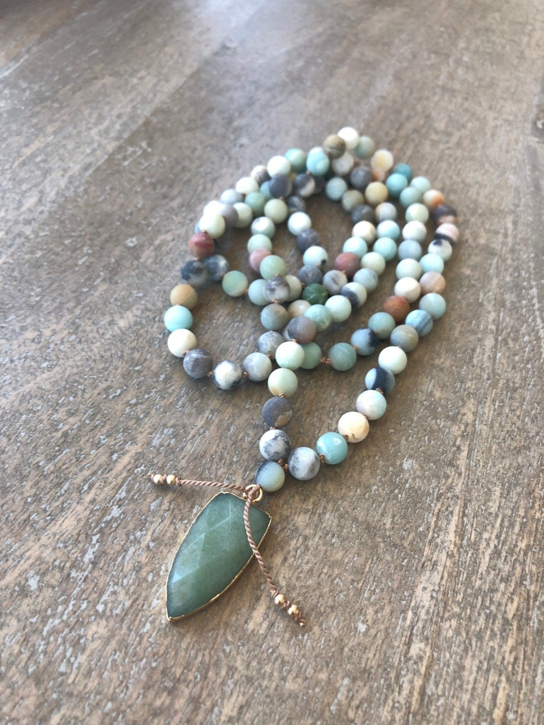 Amazonite Arrow Mala Gemstone  Beaded Necklace Arrow image 0