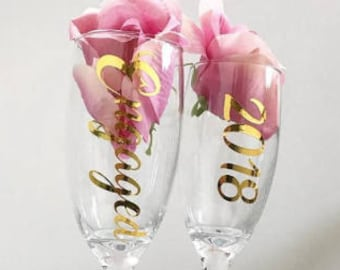 Engaged 2018 Champagne Flutes