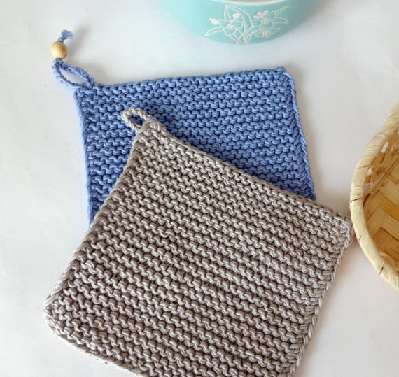 Potholder Double Set Gray Knit Potholder Knitted Pot Etsy