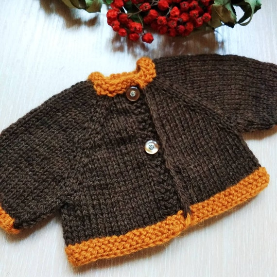 Set of two yellow brown doll cardigans, Hand knitted wool jacket for Waldorf doll, Doll clothes, Knit toy sweater, Dollhouse miniature