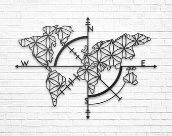 Carte Du Monde Origami.Wall Decoration Etsy