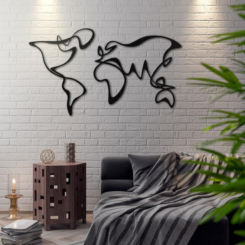 Wanddecoratie Wereldkaart Metaal.Verden Metalen Wereldkaart Metalen Wand Decor Metalen Wall Etsy