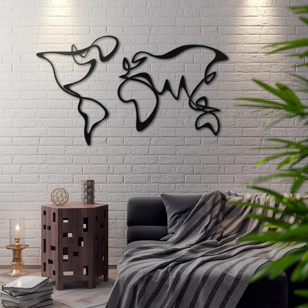 verden carte du monde m tal d coration murale en m tal art etsy. Black Bedroom Furniture Sets. Home Design Ideas